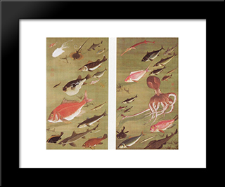Octopus And Fish: Modern Black Framed Art Print by Ito Jakuchu