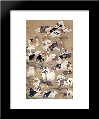 One Hundred Dogs: Modern Black Framed Art Print by Ito Jakuchu