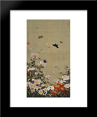 Peonies And Butterflies: Modern Black Framed Art Print by Ito Jakuchu