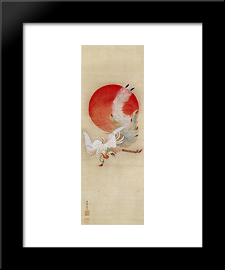 Phoenix And Sun: Modern Black Framed Art Print by Ito Jakuchu