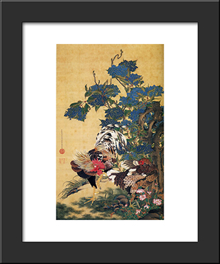 Rooster And Hen With Hydrangeas: Modern Black Framed Art Print by Ito Jakuchu