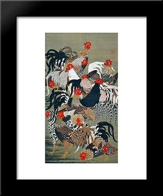 Roosters: Modern Black Framed Art Print by Ito Jakuchu