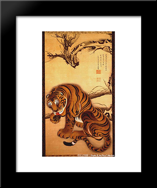 Tiger: Modern Black Framed Art Print by Ito Jakuchu
