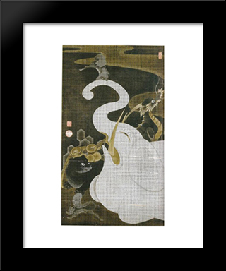 White Elephant And Animals: Modern Black Framed Art Print by Ito Jakuchu