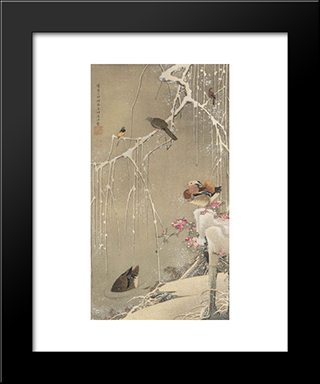 Willow Tree And Mandarin Ducks In The Snow: Modern Black Framed Art Print by Ito Jakuchu