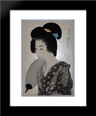 A Woman Holding A Fan: Modern Black Framed Art Print by Ito Shinsui