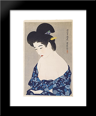 After The Bath: Modern Black Framed Art Print by Ito Shinsui