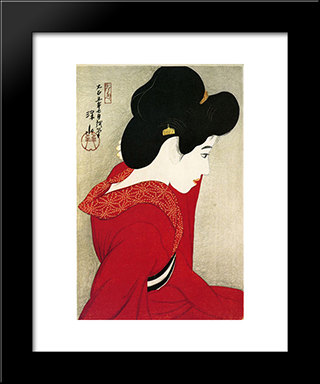 Before The Mirror: Modern Black Framed Art Print by Ito Shinsui