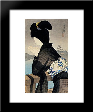Evening Cool: Modern Black Framed Art Print by Ito Shinsui