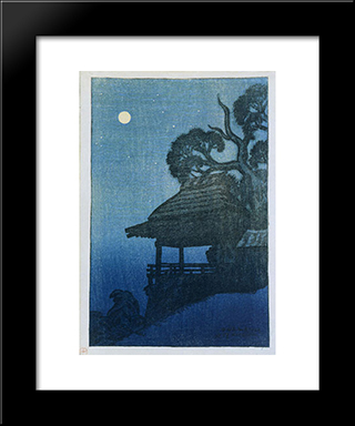 Evening Scene At Ishiyama Temple: Modern Black Framed Art Print by Ito Shinsui