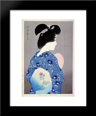 Getting Cool Air: Modern Black Framed Art Print by Ito Shinsui