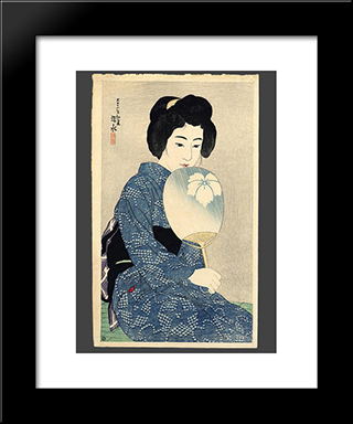 In A Yukata: Modern Black Framed Art Print by Ito Shinsui