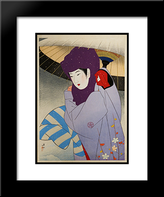 Okoso Hood: Modern Black Framed Art Print by Ito Shinsui