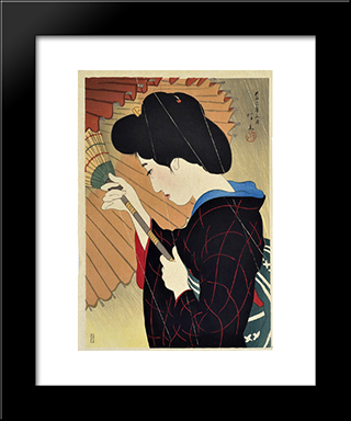 Passing Rain: Modern Black Framed Art Print by Ito Shinsui