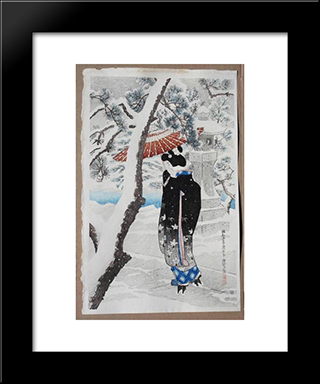 The Grounds Of A Shinto Shrine In Snow: Modern Black Framed Art Print by Ito Shinsui