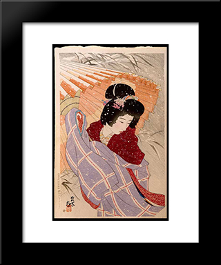 The Snow Storm: Modern Black Framed Art Print by Ito Shinsui