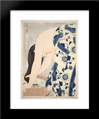 Washing The Hair: Modern Black Framed Art Print by Ito Shinsui