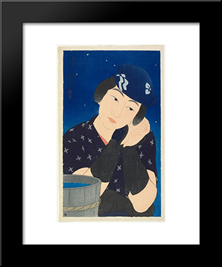 Woman Of The Island: Modern Black Framed Art Print by Ito Shinsui