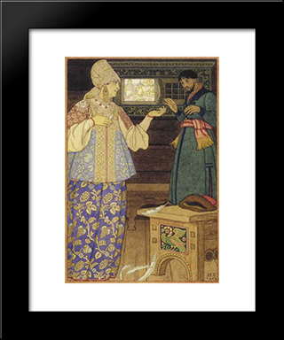 Andrew-Shooter And Strelchiha: Modern Black Framed Art Print by Ivan Bilibin