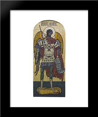 Archangel Michael. Mosaic On The North Side Of The Church Of The Virgin Uspeniya In Olshany: Modern Black Framed Art Print by Ivan Bilibin