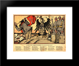 As The Germans Let Out A Bolshevik To Russia: Modern Black Framed Art Print by Ivan Bilibin