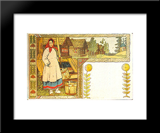 At The Well: Modern Black Framed Art Print by Ivan Bilibin