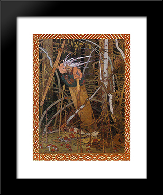 Baba Yaga. Illustration For The Fairy Tale Vasilisa The Beautiful: Modern Black Framed Art Print by Ivan Bilibin