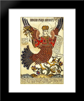 Bird Alkonost: Modern Black Framed Art Print by Ivan Bilibin