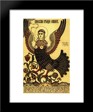 Bird Of Paradise Sirin: Modern Black Framed Art Print by Ivan Bilibin
