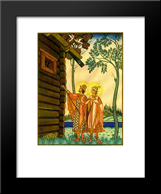 Boris And Gleb: Modern Black Framed Art Print by Ivan Bilibin