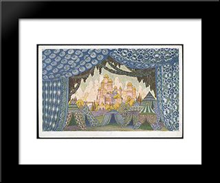 Castle Of Naina. Sketches Of Scenery For Mikhail Glinka'S Ruslan And Ludmilla.: Modern Black Framed Art Print by Ivan Bilibin