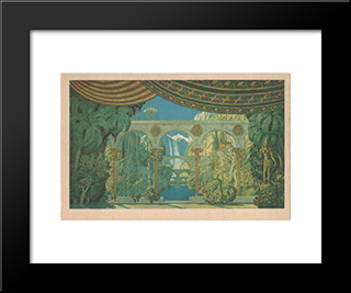 Chernomor'S Gardens. Sketches Of Scenery For Mikhail Glinka'S Ruslan And Ludmilla: Modern Black Framed Art Print by Ivan Bilibin