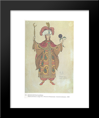 Costume Design For The Opera, The Golden Cockerel, By Nikolai Rimsky-Korsakov: Modern Black Framed Art Print by Ivan Bilibin