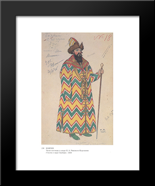 Costume Design For The Opera Fairytale Of The Tsar Saltan By Nikolai Rimsky-Korsakov: Modern Black Framed Art Print by Ivan Bilibin