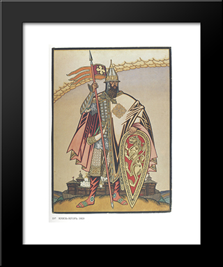 Costume Design For The Opera Prince Igor By Alexander Borodin: Modern Black Framed Art Print by Ivan Bilibin