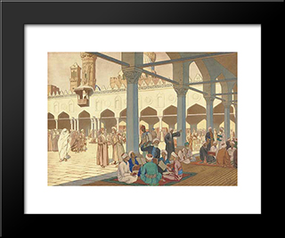 Courtyard Of Al-Azhar Mosque And University Complex In Cairo: Modern Black Framed Art Print by Ivan Bilibin