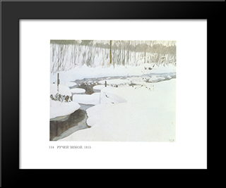 Creek In Winter: Modern Black Framed Art Print by Ivan Bilibin