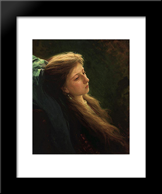 A Girl With Her Hair Unbraided: Modern Black Framed Art Print by Ivan Kramskoy