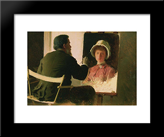 Kramsky, Who Writes A Portrait Of His Daughter, Sofia Ivanovna Archaeology From Marriage Juncker: Modern Black Framed Art Print by Ivan Kramskoy