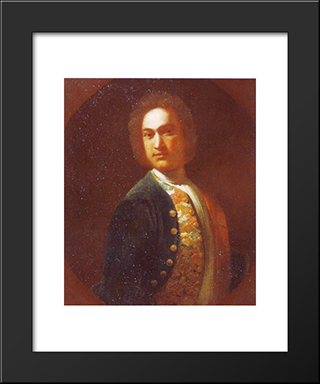 Portrait Of Young Man In A Green Coat: Modern Black Framed Art Print by Ivan Nikitin