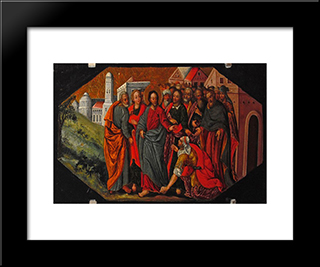 Christ Healing The Hemorrhaging Woman: Modern Black Framed Art Print by Ivan Rutkovych