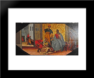 Christ In The House Of Matha And Mary: Modern Black Framed Art Print by Ivan Rutkovych