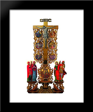 Crucifixtion With Scenes Of Christ'S Passion: Modern Black Framed Art Print by Ivan Rutkovych