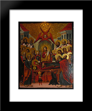 Dormition Of Virgin_Mary: Modern Black Framed Art Print by Ivan Rutkovych