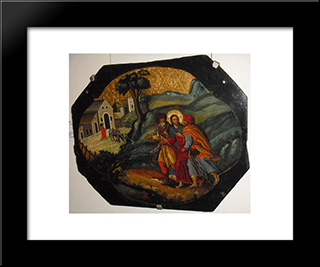 Road To Emmaus: Modern Black Framed Art Print by Ivan Rutkovych
