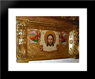 Savior Nerukotvornyi (Saviour Not-Made-By-Hands) From The Zhovkva Iconostasis: Modern Black Framed Art Print by Ivan Rutkovych