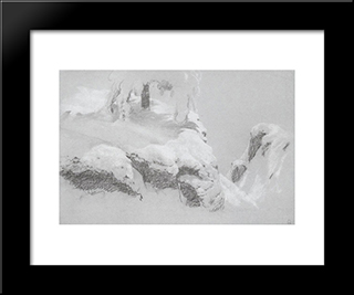 A Sketch For A Painting In The Wild North: Modern Black Framed Art Print by Ivan Shishkin