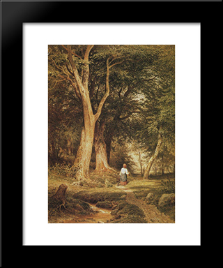 A Woman With A Boy In The Forest: Modern Black Framed Art Print by Ivan Shishkin
