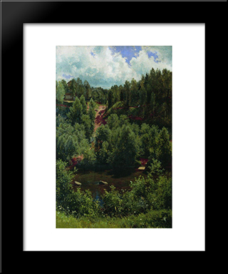 After The Rain. Etude Of The Forest: Modern Black Framed Art Print by Ivan Shishkin