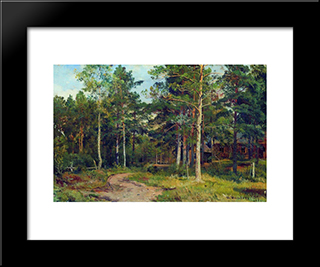 Autumn Landscape. Path In The Forest: Modern Black Framed Art Print by Ivan Shishkin